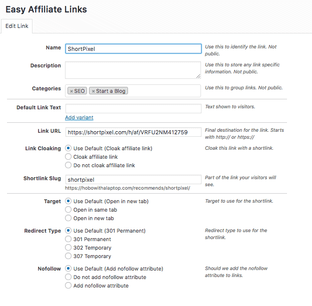 A screenshot of the Easy Affiliate Link blogging tool