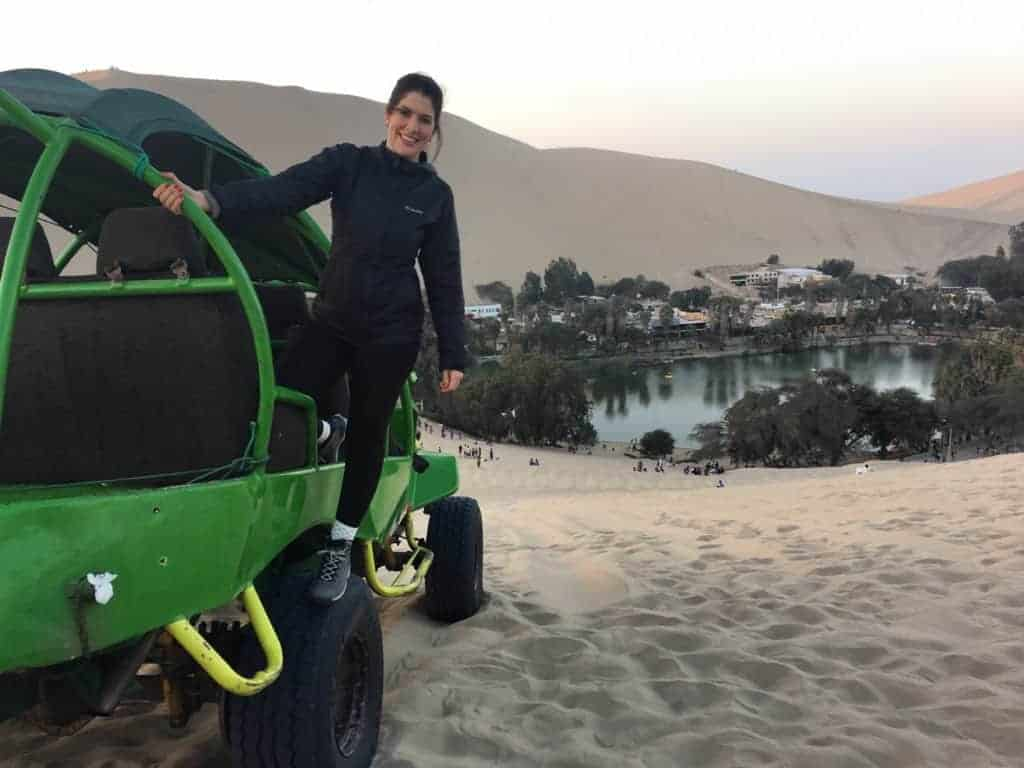 Katie on the Run in Huacachina