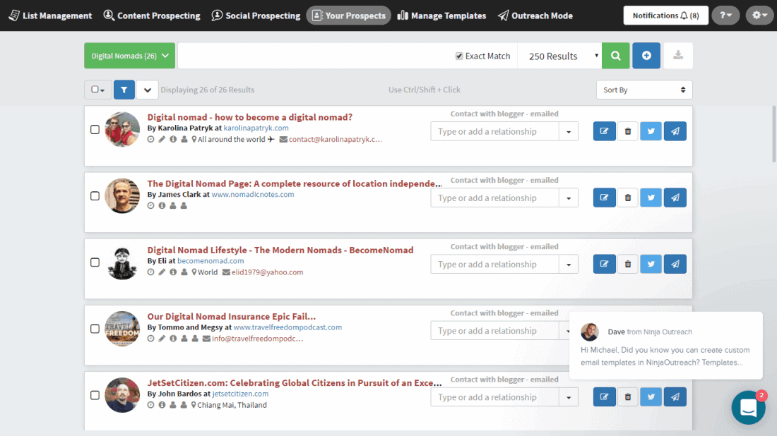 Ninja Outreach is the best blogger outreach tool I've ever seen, this is a screenshot of it in action