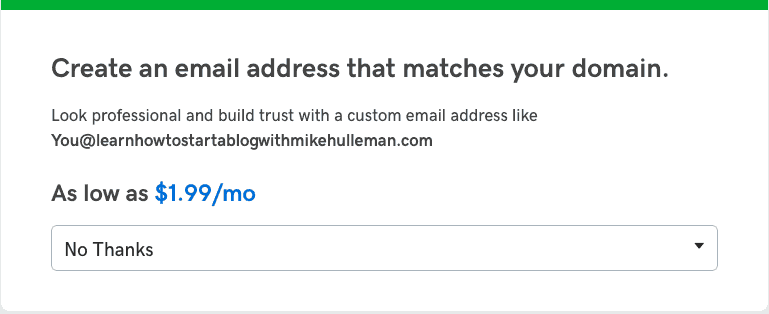 Don't buy email from GoDaddy, leave it up to your host